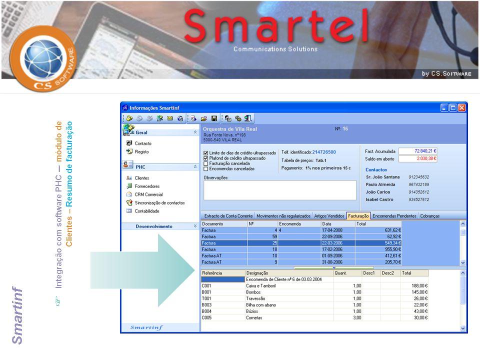  Integração com software PHC – módulo de Clientes – Resumo de facturação Smartinf
