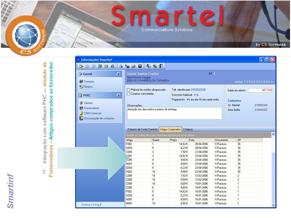  Integração com software PHC – módulo de Fornecedores – Artigos comprados ao fornecedor Smartinf