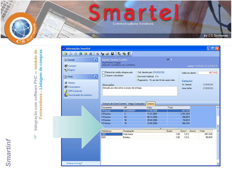  Integração com software PHC – módulo de Fornecedores – Listagem de compras Smartinf