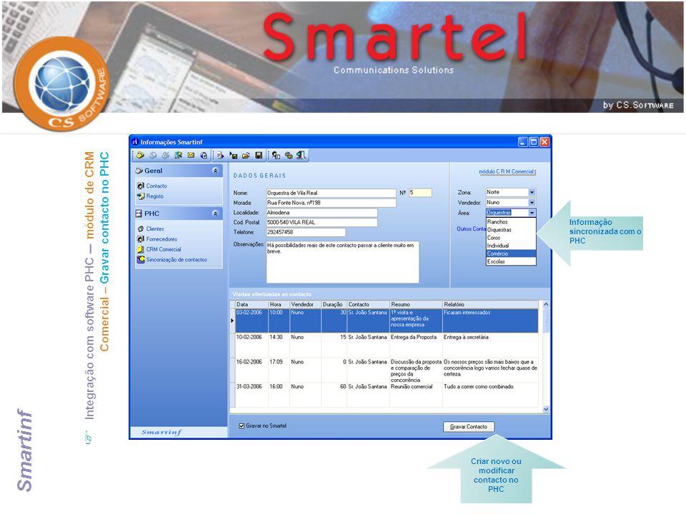  Integração com software PHC – módulo de CRM Comercial – Gravar contacto no PHC Criar novo ou modificar contacto no PHC Informação sincronizada com o