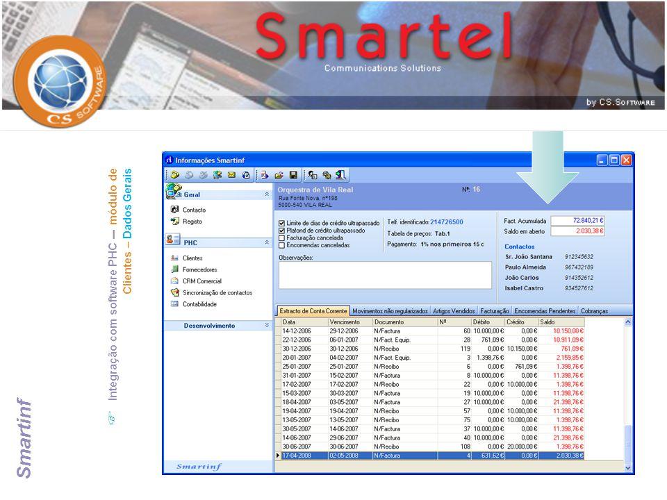  Integração com software PHC – módulo de CRM Comercial – Visitas efectuadas ao contacto Smartinf