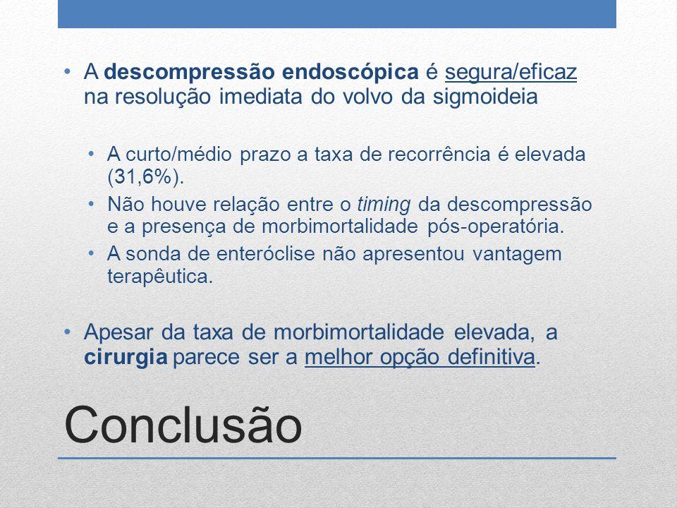 Conclusão A descompressão endoscópica é segura/eficaz na resolução imediata do volvo da sigmoideia A curto/médio prazo a taxa de recorrência é elevada