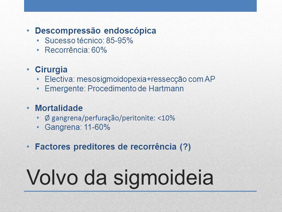 Volvo da sigmoideia Descompressão endoscópica Sucesso técnico: 85-95% Recorrência: 60% Cirurgia Electiva: mesosigmoidopexia+ressecção com AP Emergente