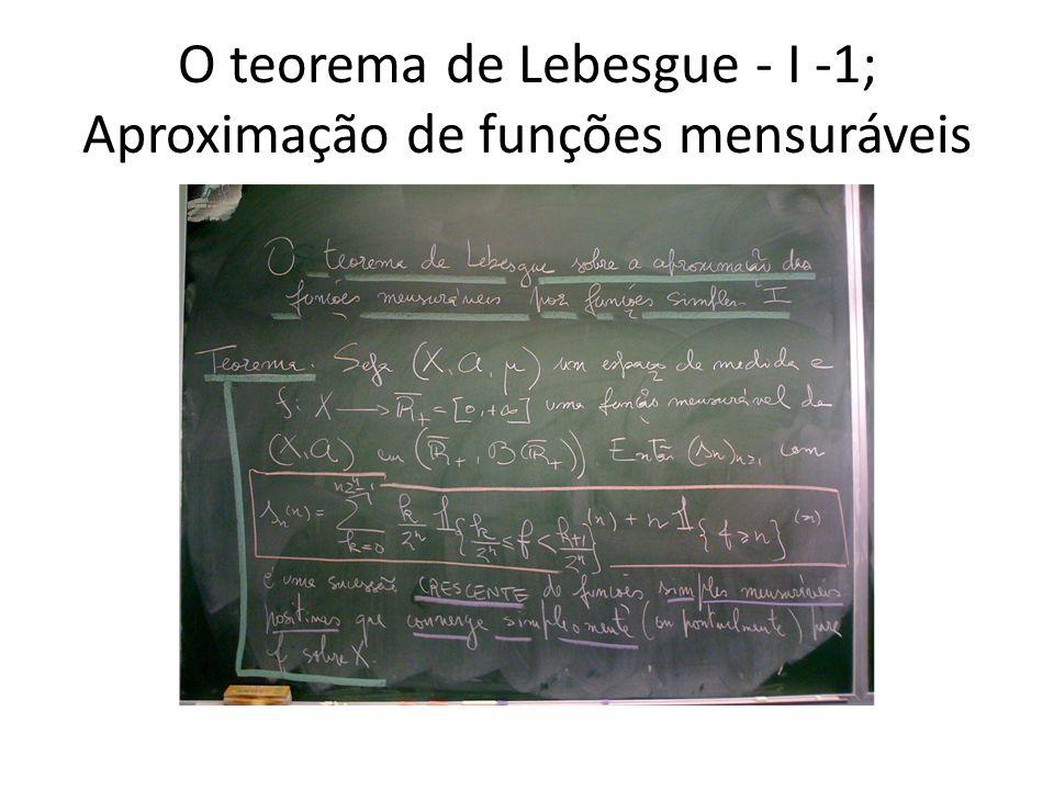 O teorema de Lebesgue - I -1; Aproximação de funções mensuráveis