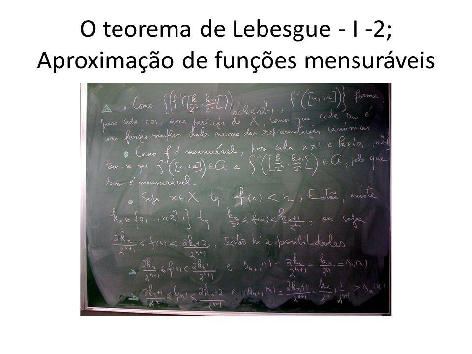 O teorema de Lebesgue - I -2; Aproximação de funções mensuráveis