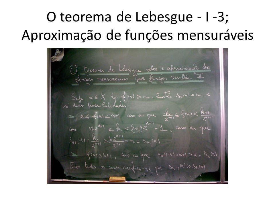 O teorema de Lebesgue - I -3; Aproximação de funções mensuráveis