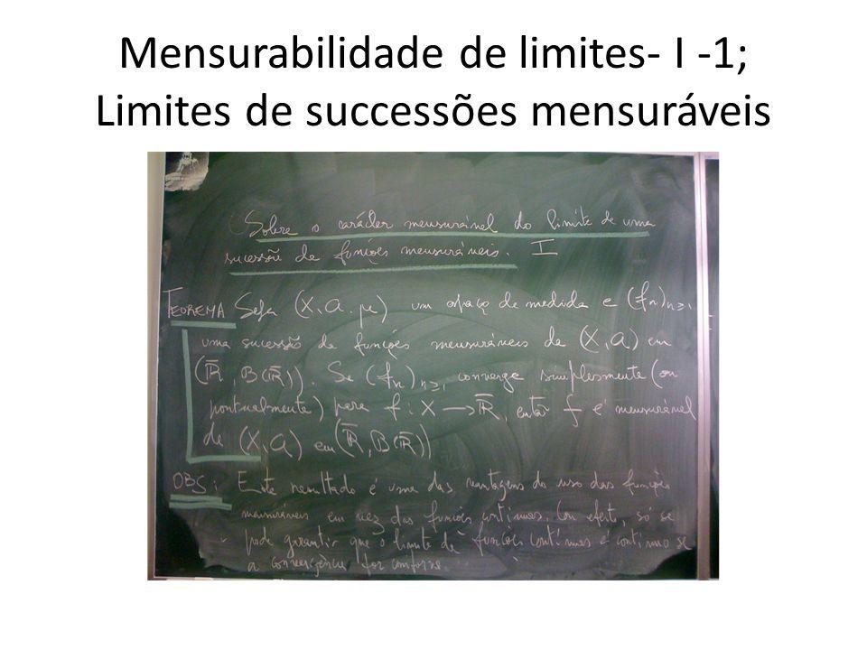 Mensurabilidade de limites- I -1; Limites de successões mensuráveis