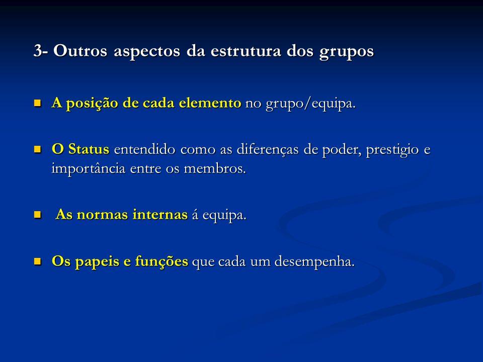 3- Outros aspectos da estrutura dos grupos A posição de cada elemento no grupo/equipa. A posição de cada elemento no grupo/equipa. O Status entendido