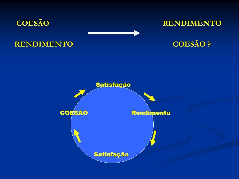 COESÃO RENDIMENTO COESÃO RENDIMENTO RENDIMENTO COESÃO ? COESÃO Satisfação Rendimento Satisfação