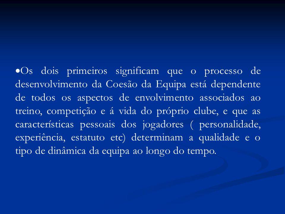  Os dois primeiros significam que o processo de desenvolvimento da Coesão da Equipa está dependente de todos os aspectos de envolvimento associados a