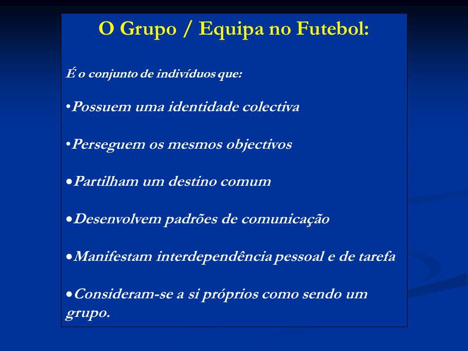 O Grupo / Equipa no Futebol: É o conjunto de indivíduos que: Possuem uma identidade colectiva Perseguem os mesmos objectivos  Partilham um destino co