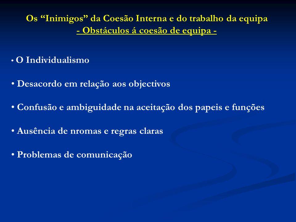 """Os """"Inimigos"""" da Coesão Interna e do trabalho da equipa - Obstáculos á coesão de equipa - O Individualismo Desacordo em relação aos objectivos Confusã"""