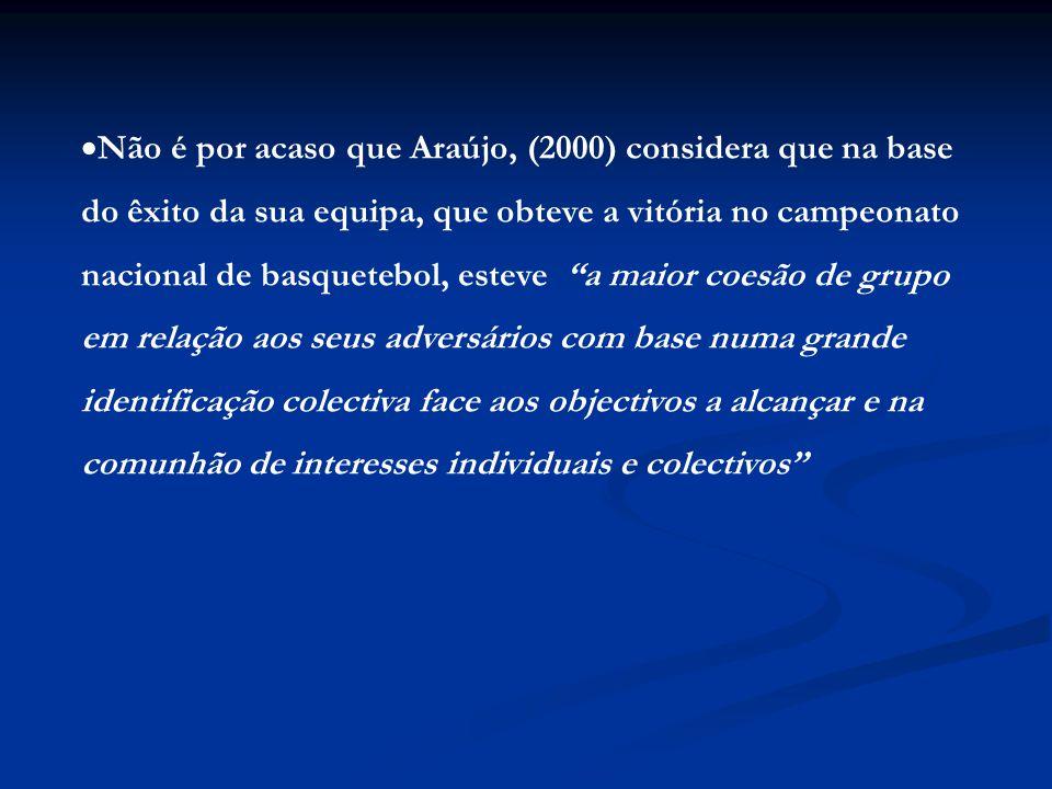  Não é por acaso que Araújo, (2000) considera que na base do êxito da sua equipa, que obteve a vitória no campeonato nacional de basquetebol, esteve