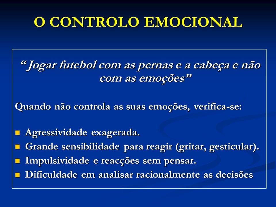 """O CONTROLO EMOCIONAL """" Jogar futebol com as pernas e a cabeça e não com as emoções"""" Quando não controla as suas emoções, verifica-se: Agressividade ex"""