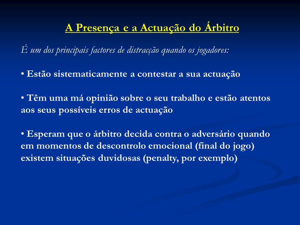 A Presença e a Actuação do Árbitro É um dos principais factores de distracção quando os jogadores: Estão sistematicamente a contestar a sua actuação T