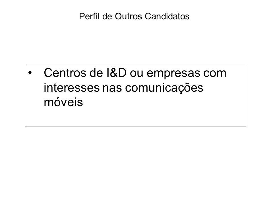 Centros de I&D ou empresas com interesses nas comunicações móveis Perfil de Outros Candidatos
