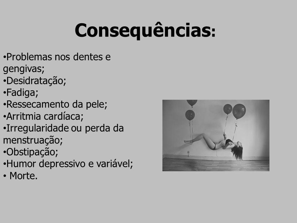 Consequências : Problemas nos dentes e gengivas; Desidratação; Fadiga; Ressecamento da pele; Arritmia cardíaca; Irregularidade ou perda da menstruação