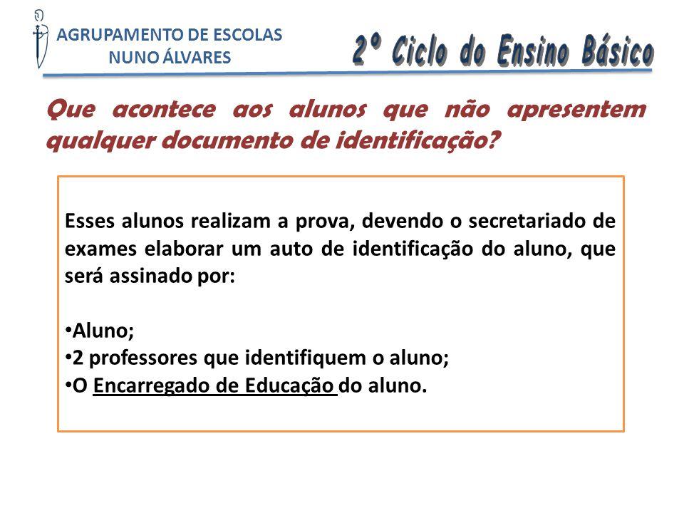 Que acontece aos alunos que não apresentem qualquer documento de identificação? Esses alunos realizam a prova, devendo o secretariado de exames elabor