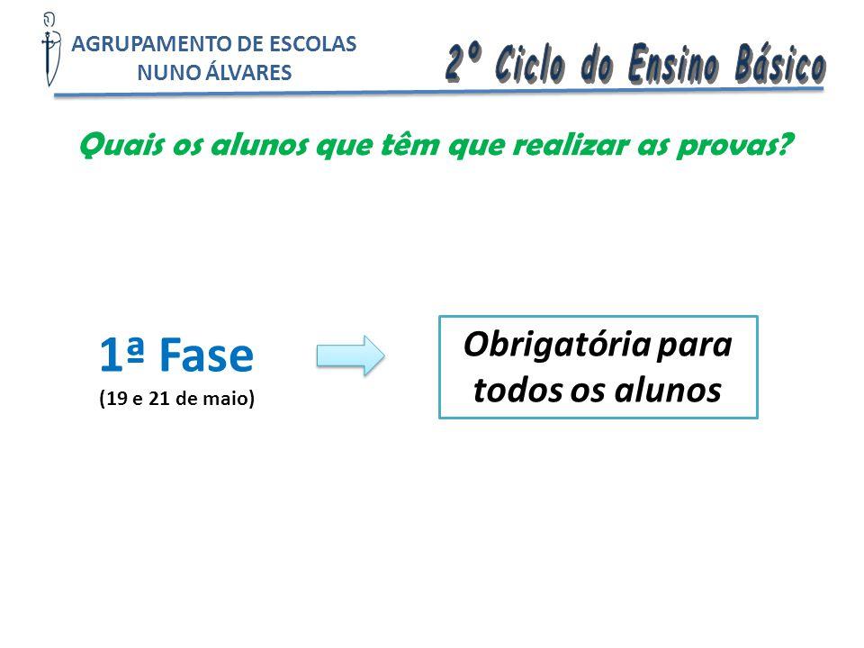 Quais os alunos que têm que realizar as provas? 1ª Fase (19 e 21 de maio) Obrigatória para todos os alunos AGRUPAMENTO DE ESCOLAS NUNO ÁLVARES