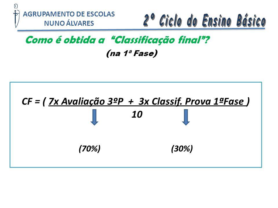 """Como é obtida a """"Classificação final""""? ( na 1ª Fase ) CF = ( 7x Avaliação 3ºP + 3x Classif. Prova 1ªFase ) 10 (70%) (30%) AGRUPAMENTO DE ESCOLAS NUNO"""
