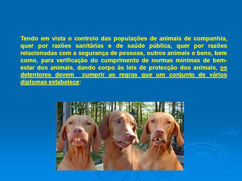Tendo em vista o controlo das populações de animais de companhia, quer por razões sanitárias e de saúde pública, quer por razões relacionadas com a se