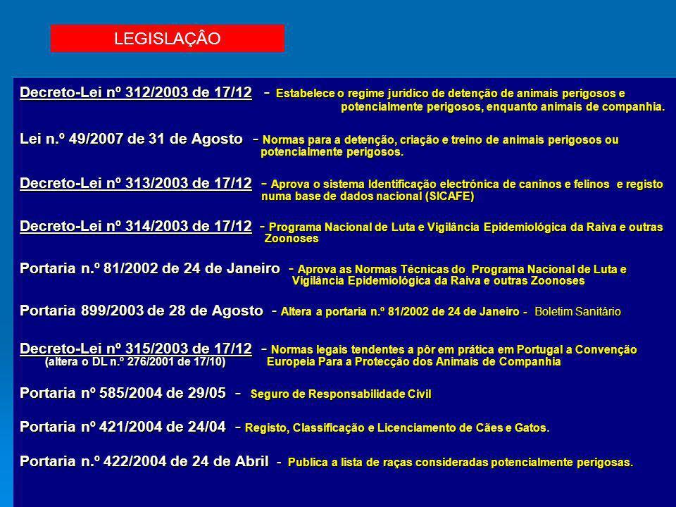 Decreto-Lei nº 312/2003 de 17/12 - Estabelece o regime jurídico de detenção de animais perigosos e potencialmente perigosos, enquanto animais de compa