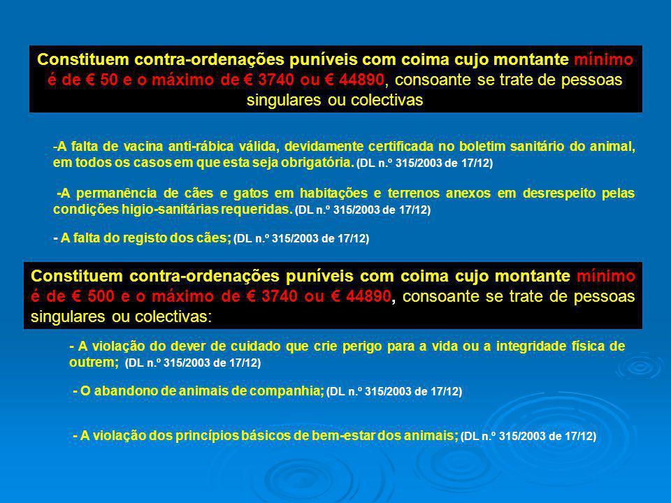 Constituem contra-ordenações puníveis com coima cujo montante mínimo é de € 500 e o máximo de € 3740 ou € 44890, consoante se trate de pessoas singula