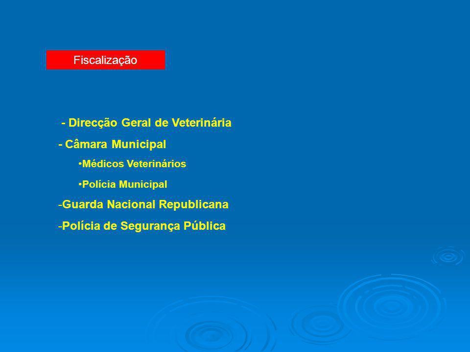 Fiscalização - Direcção Geral de Veterinária - Câmara Municipal Médicos Veterinários Polícia Municipal -Guarda Nacional Republicana -Polícia de Segura