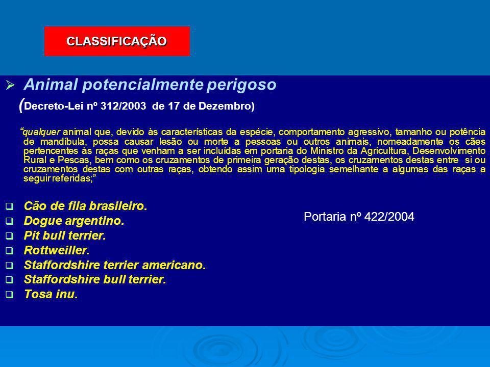 """  Animal potencialmente perigoso ( Decreto-Lei nº 312/2003 de 17 de Dezembro) """" qualquer animal que, devido às características da espécie, comportam"""