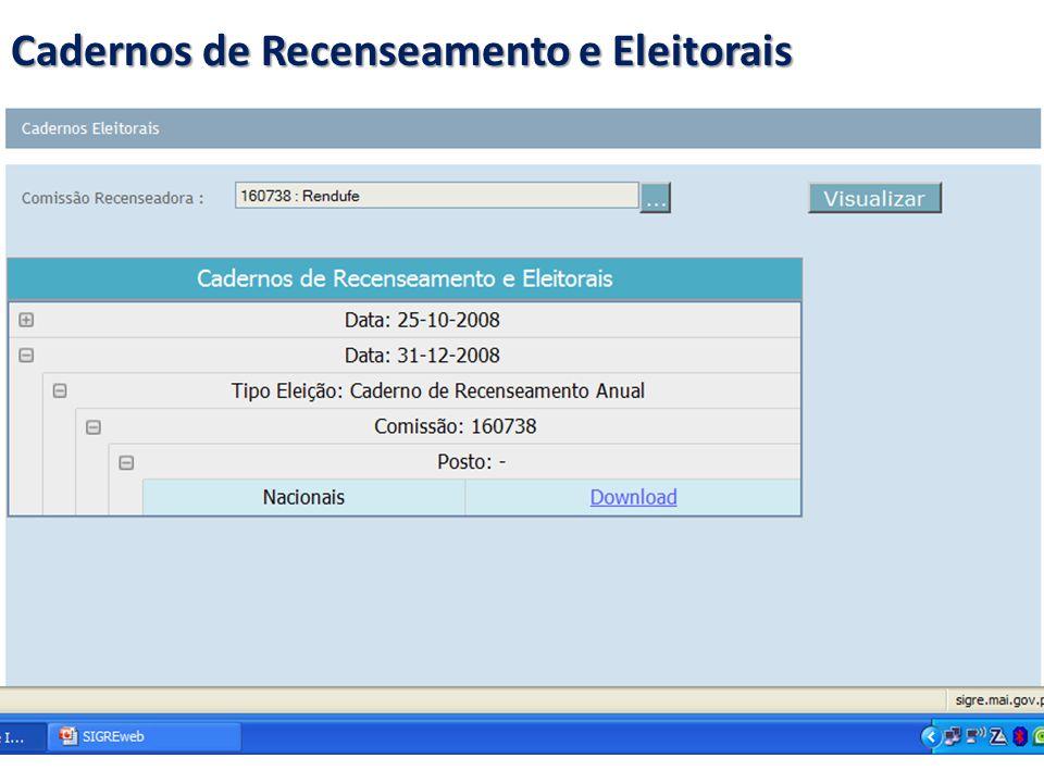 Cadernos de Recenseamento e Eleitorais