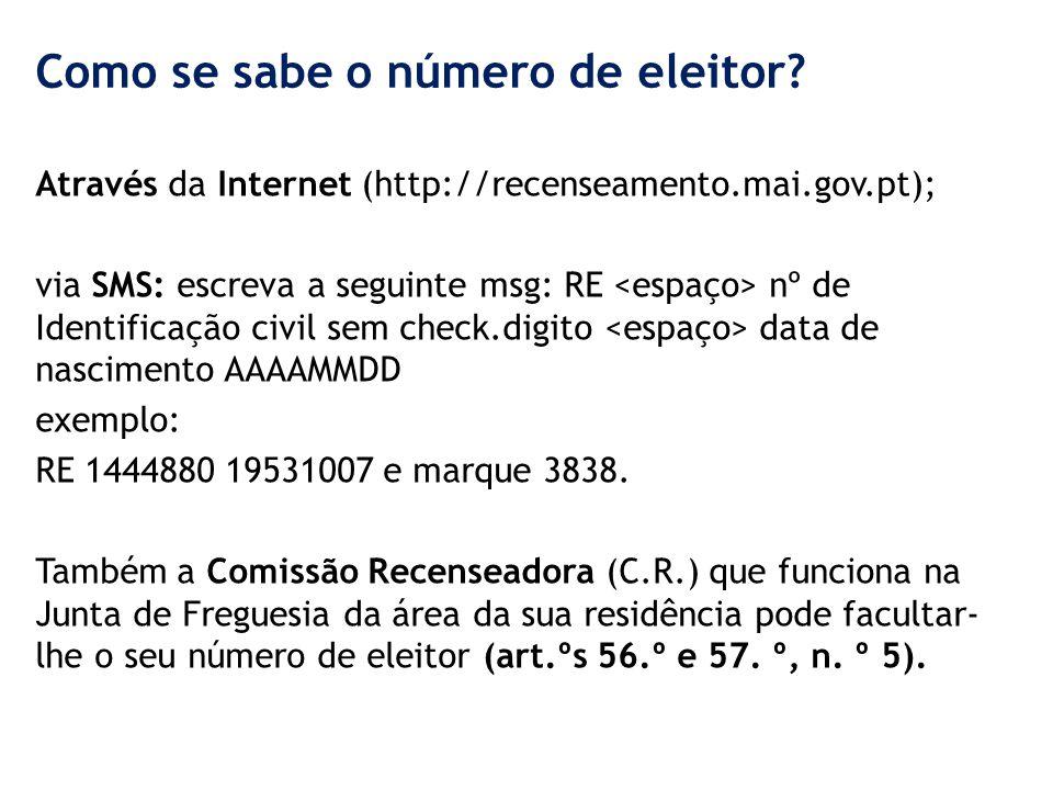 Como se sabe o número de eleitor? Através da Internet (http://recenseamento.mai.gov.pt); via SMS: escreva a seguinte msg: RE nº de Identificação civil