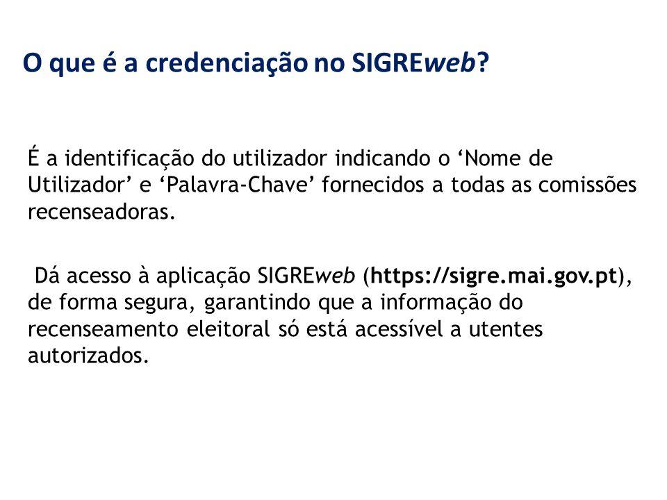 O que é a credenciação no SIGREweb? É a identificação do utilizador indicando o 'Nome de Utilizador' e 'Palavra-Chave' fornecidos a todas as comissões
