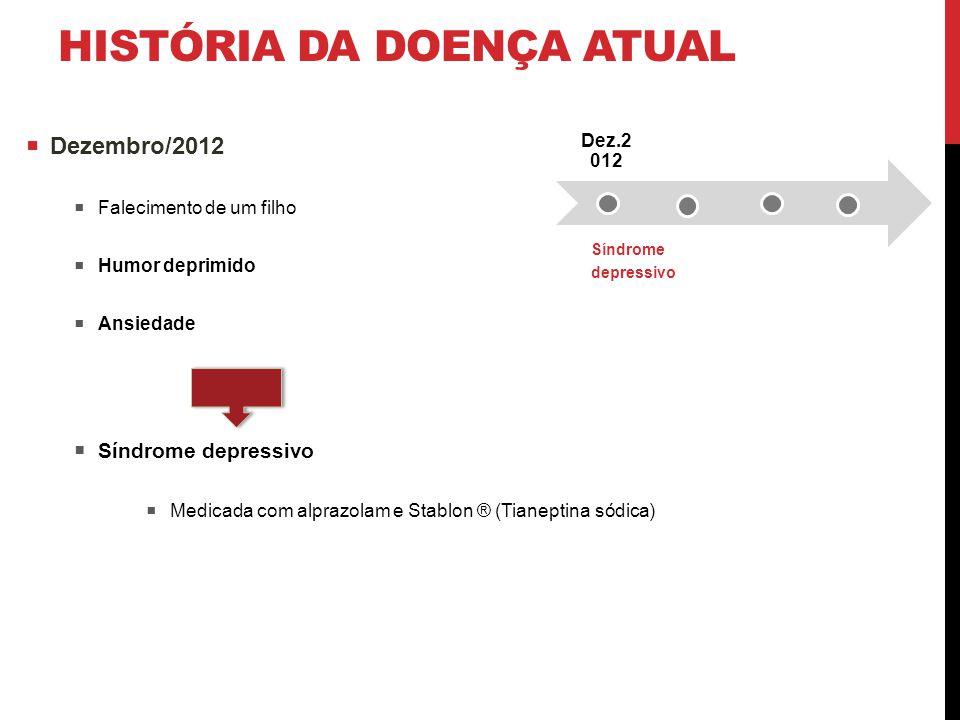 HISTÓRIA DA DOENÇA ATUAL  Dezembro/2012  Falecimento de um filho  Humor deprimido  Ansiedade  Síndrome depressivo  Medicada com alprazolam e Sta