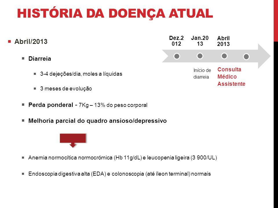 HISTÓRIA DA DOENÇA ATUAL  Abril/2013  Diarreia  3-4 dejeções/dia, moles a líquidas  3 meses de evolução  Perda ponderal - 7Kg – 13% do peso corpo