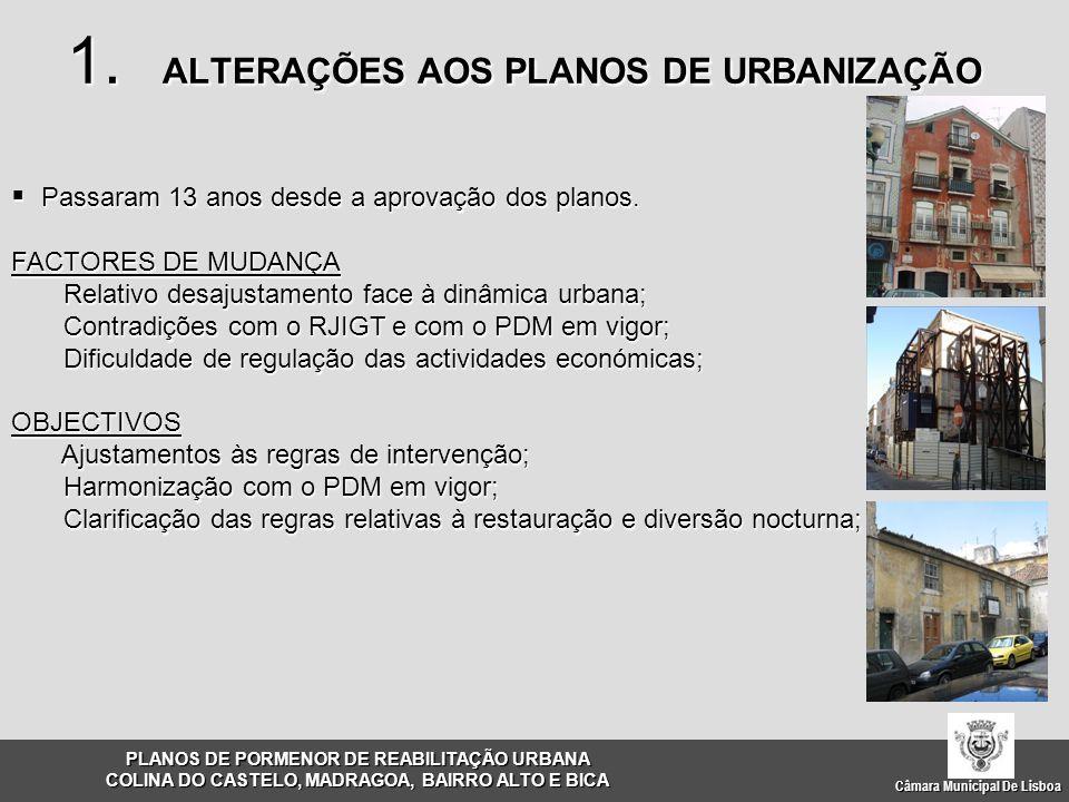 Câmara Municipal De Lisboa  Passaram 13 anos desde a aprovação dos planos. FACTORES DE MUDANÇA Relativo desajustamento face à dinâmica urbana; Contra