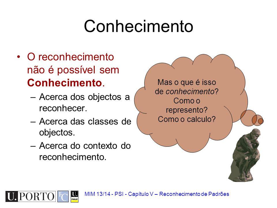 MIM 13/14 - PSI - Capítulo V – Reconhecimento de Padrões Conhecimento O reconhecimento não é possível sem Conhecimento. –Acerca dos objectos a reconhe