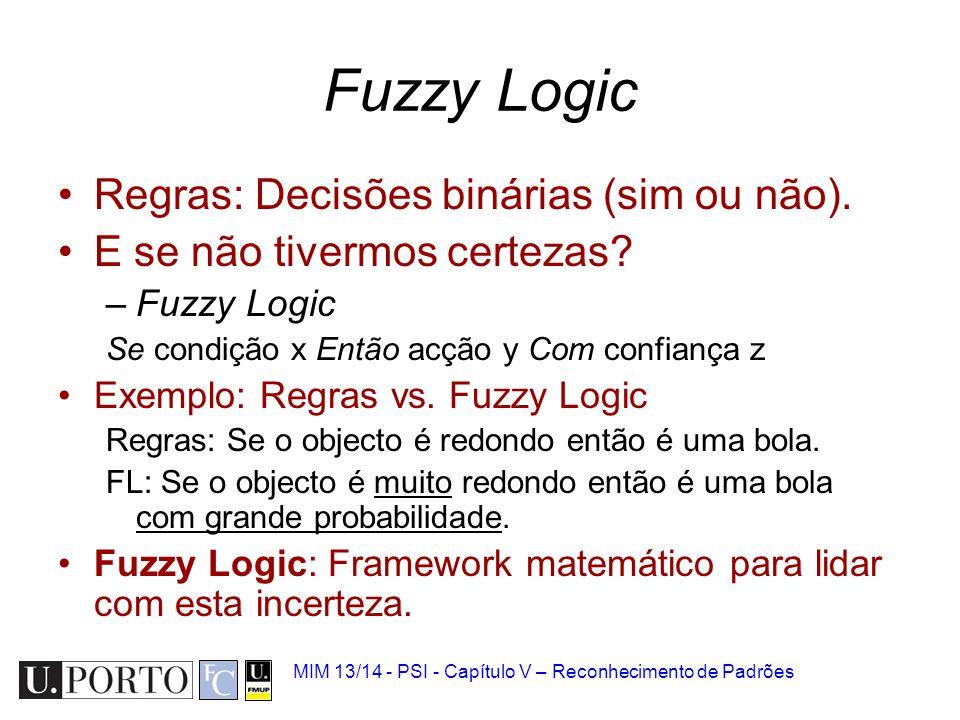MIM 13/14 - PSI - Capítulo V – Reconhecimento de Padrões Fuzzy Logic Regras: Decisões binárias (sim ou não). E se não tivermos certezas? –Fuzzy Logic