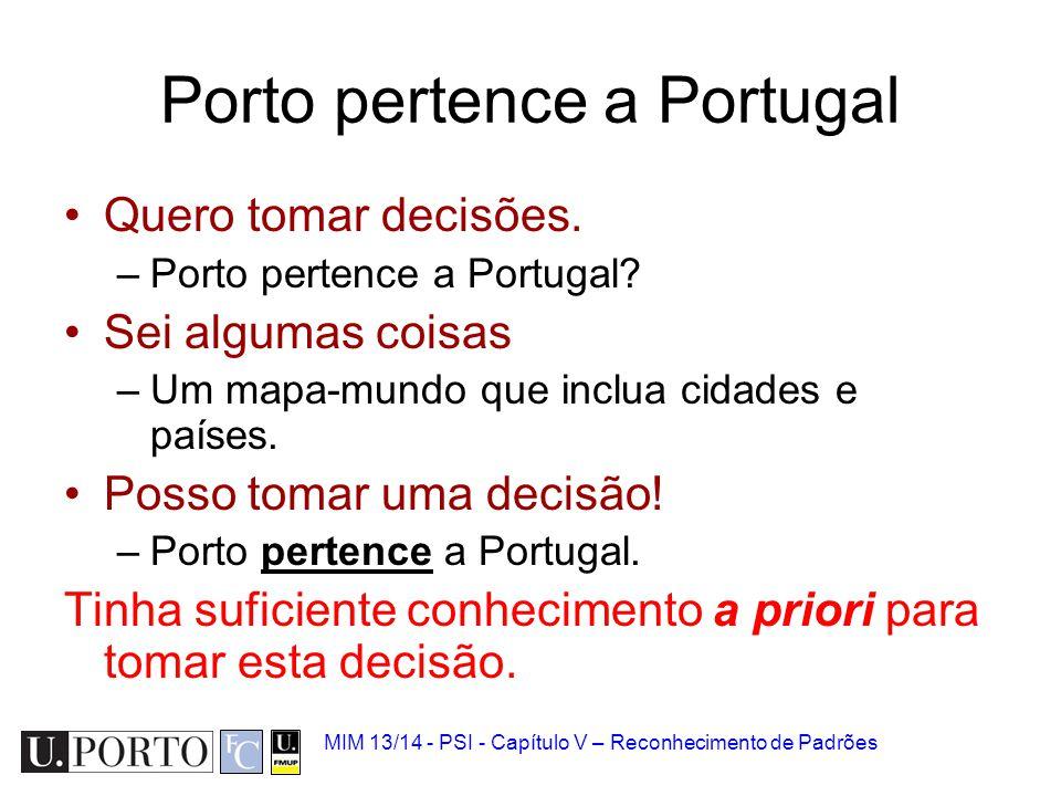 MIM 13/14 - PSI - Capítulo V – Reconhecimento de Padrões Porto pertence a Portugal Quero tomar decisões. –Porto pertence a Portugal? Sei algumas coisa
