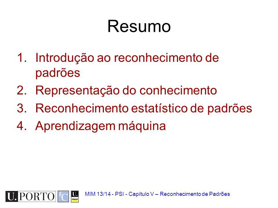 MIM 13/14 - PSI - Capítulo V – Reconhecimento de Padrões Resumo 1.Introdução ao reconhecimento de padrões 2.Representação do conhecimento 3.Reconhecim