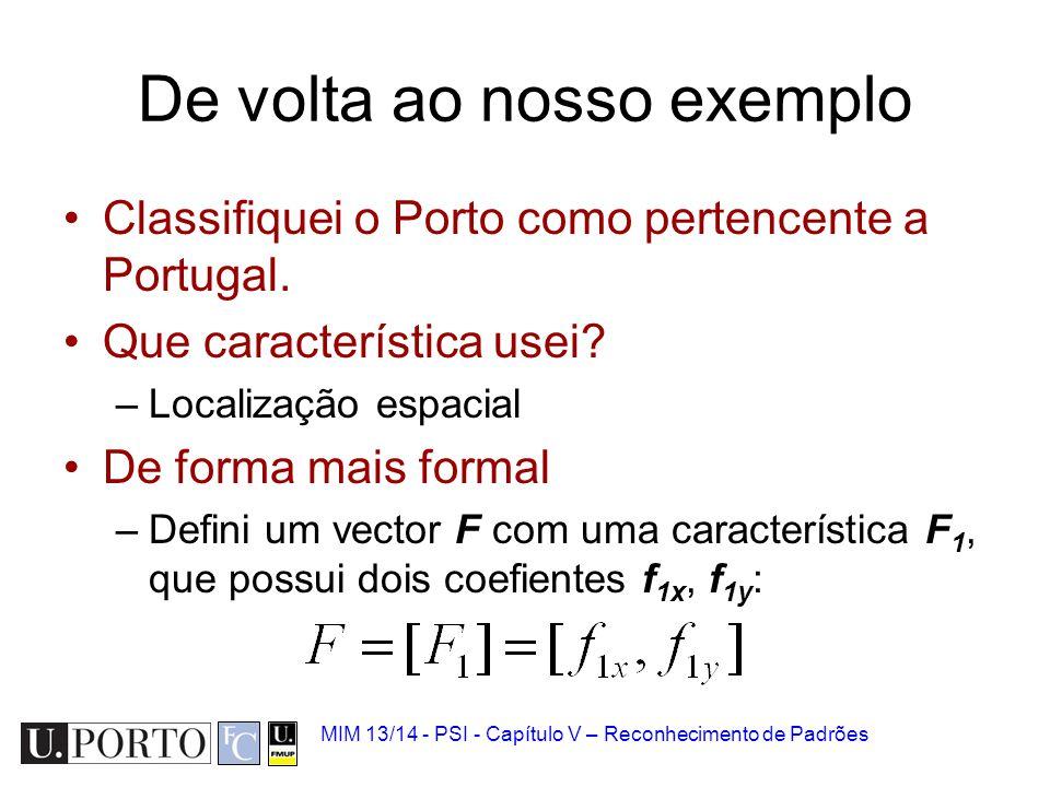 MIM 13/14 - PSI - Capítulo V – Reconhecimento de Padrões De volta ao nosso exemplo Classifiquei o Porto como pertencente a Portugal. Que característic