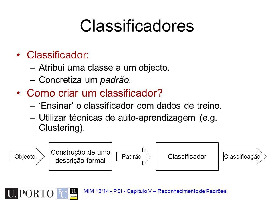MIM 13/14 - PSI - Capítulo V – Reconhecimento de Padrões Classificadores Classificador: –Atribui uma classe a um objecto. –Concretiza um padrão. Como