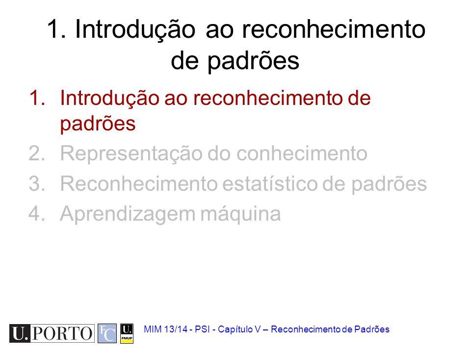 MIM 13/14 - PSI - Capítulo V – Reconhecimento de Padrões 1. Introdução ao reconhecimento de padrões 2.Representação do conhecimento 3.Reconhecimento e