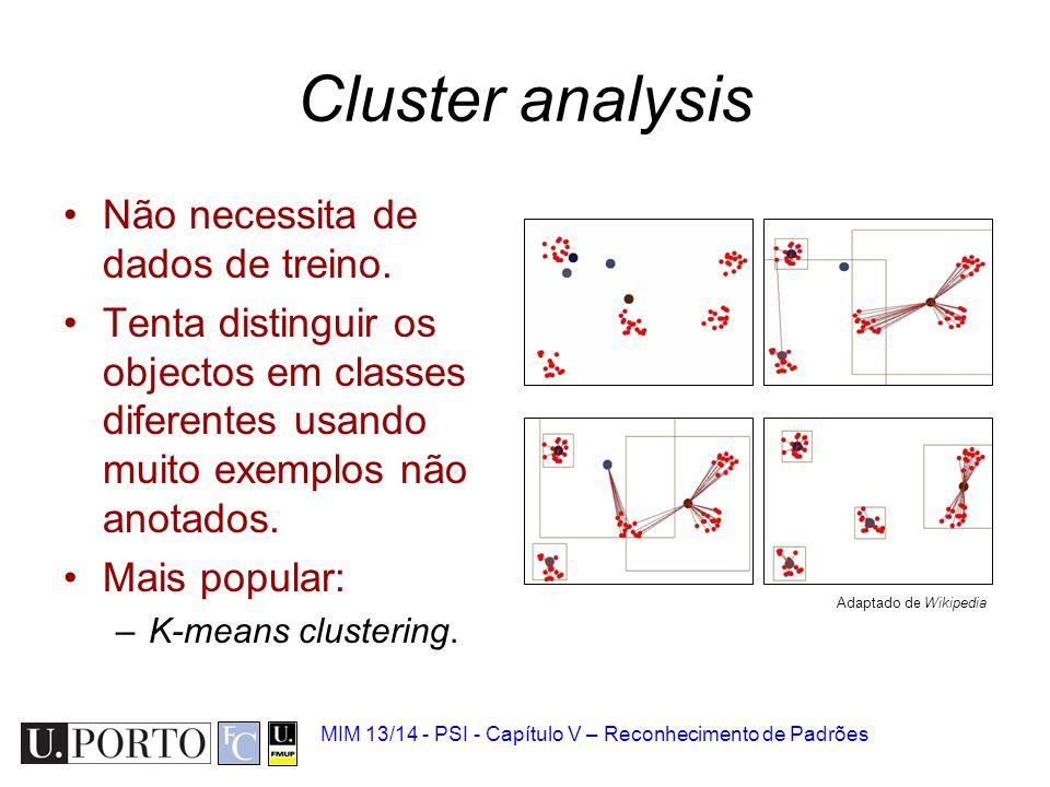 MIM 13/14 - PSI - Capítulo V – Reconhecimento de Padrões Cluster analysis Não necessita de dados de treino. Tenta distinguir os objectos em classes di