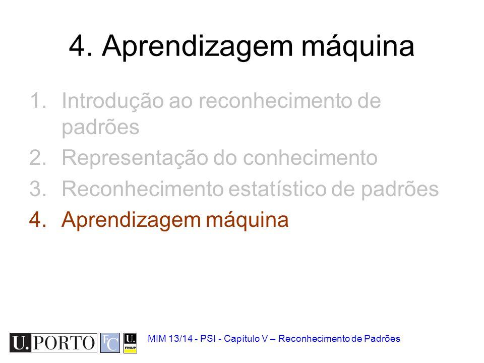 MIM 13/14 - PSI - Capítulo V – Reconhecimento de Padrões 4. Aprendizagem máquina 1.Introdução ao reconhecimento de padrões 2.Representação do conhecim