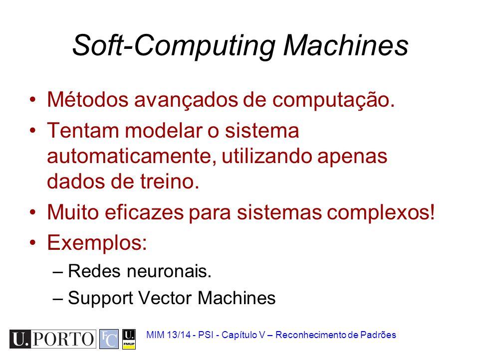 MIM 13/14 - PSI - Capítulo V – Reconhecimento de Padrões Soft-Computing Machines Métodos avançados de computação. Tentam modelar o sistema automaticam
