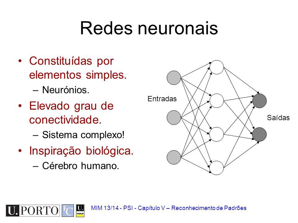 MIM 13/14 - PSI - Capítulo V – Reconhecimento de Padrões Redes neuronais Constituídas por elementos simples. –Neurónios. Elevado grau de conectividade