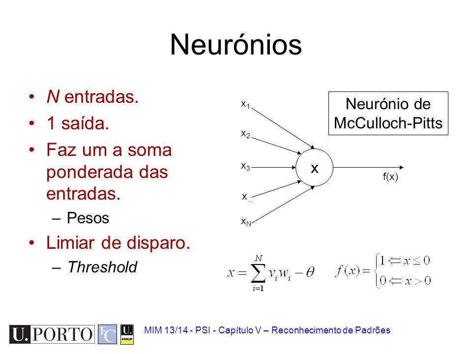 MIM 13/14 - PSI - Capítulo V – Reconhecimento de Padrões Neurónios N entradas. 1 saída. Faz um a soma ponderada das entradas. –Pesos Limiar de disparo