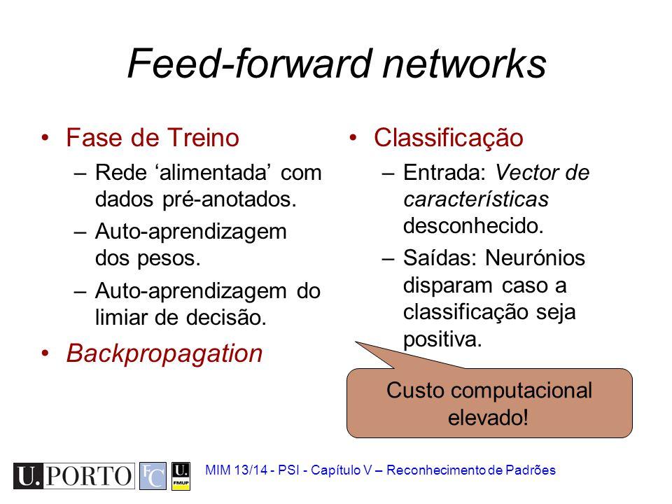 MIM 13/14 - PSI - Capítulo V – Reconhecimento de Padrões Feed-forward networks Fase de Treino –Rede 'alimentada' com dados pré-anotados. –Auto-aprendi