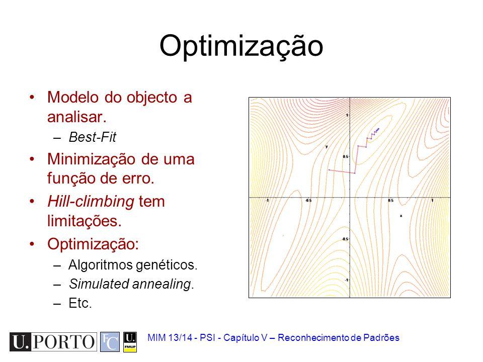MIM 13/14 - PSI - Capítulo V – Reconhecimento de Padrões Optimização Modelo do objecto a analisar. –Best-Fit Minimização de uma função de erro. Hill-c