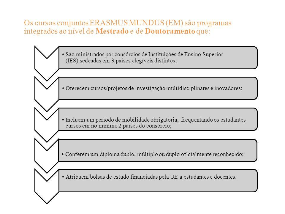 Os cursos conjuntos ERASMUS MUNDUS (EM) são programas integrados ao nível de Mestrado e de Doutoramento que: São ministrados por consórcios de Instituições de Ensino Superior (IES) sedeadas em 3 países elegíveis distintos; Oferecem cursos/projetos de investigação multidisciplinares e inovadores; Incluem um período de mobilidade obrigatória, frequentando os estudantes cursos em no mínimo 2 países do consórcio; Conferem um diploma duplo, múltiplo ou duplo oficialmente reconhecido; Atribuem bolsas de estudo financiadas pela UE a estudantes e docentes.